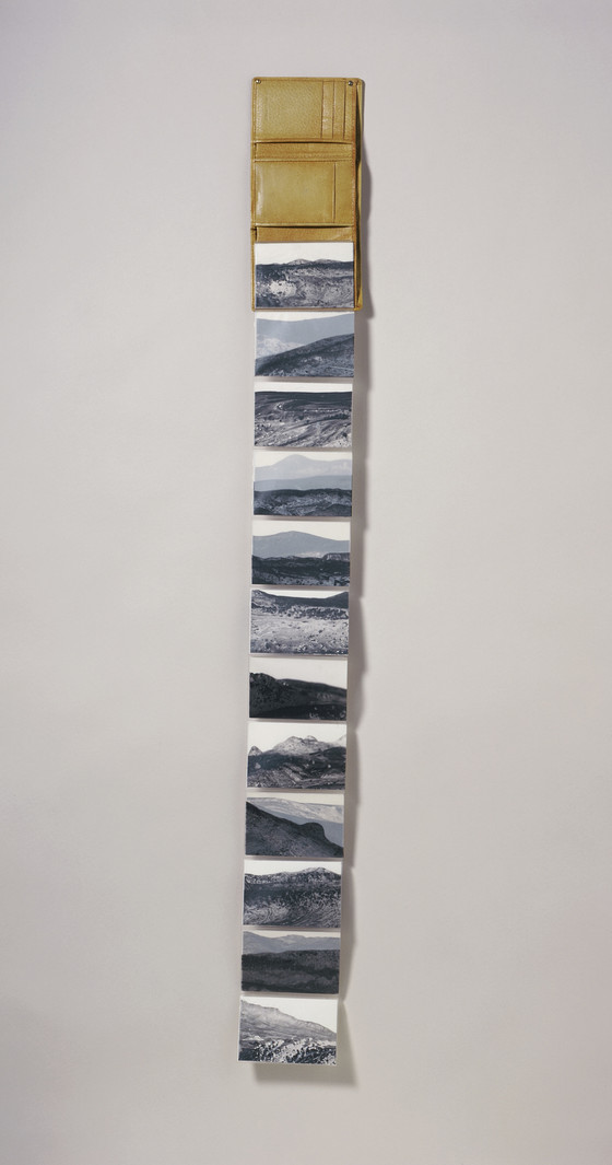 Untitled; David Berg, 1996; Leather wallet with 12 paintings on paper in plastic foldout
